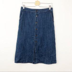 Mossimo Button Front Denim Midi Skirt, 6